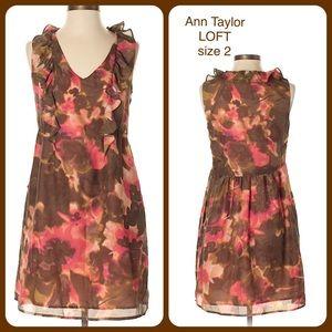 Ann Taylor Loft  Ruffle Dress Sleeveless SZ 2